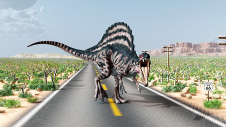 spinosaurus: Route 66 in the USA with the dinosaur Spinosaurus