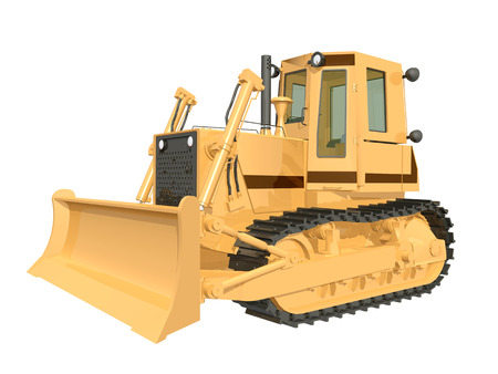 earth mover: Bulldozer isolated on white background Stock Photo