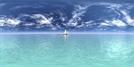 360 degree ocean landscape with sailboat Stock Photo