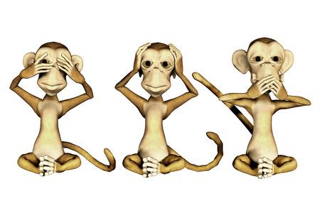 deafness: 3d cartoon monkeys isolated on white background