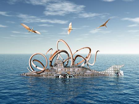 octopus: Fantasy submarine and octopus