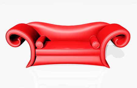 red couch: Red couch against a white background Stock Photo