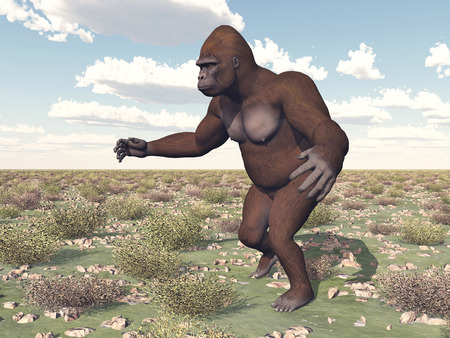 anthropoid: Walking gorilla in a landscape Stock Photo