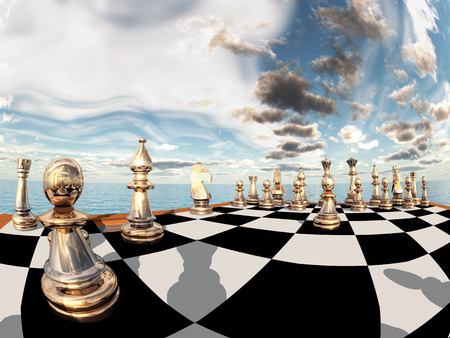 shadow match: Chess game Stock Photo