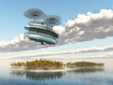 airscrew: Fantasy airship over an ocean landscape