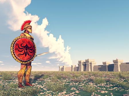 antica grecia: Oplita dell'antica Grecia a Troia