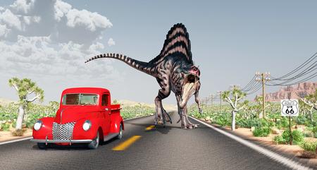 spinosaurus: Encounter on Route 66 Stock Photo