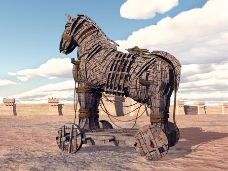 cavallo di troia: Trojan Horse a Troia Archivio Fotografico