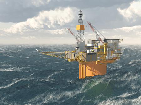 stormy: Oil platform in the stormy ocean