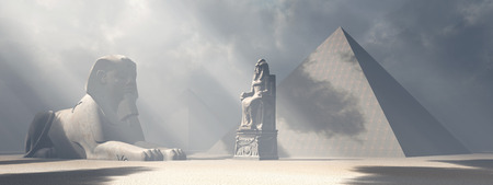 sphinx: Egyptian sphinx, statue and pyramids Stock Photo