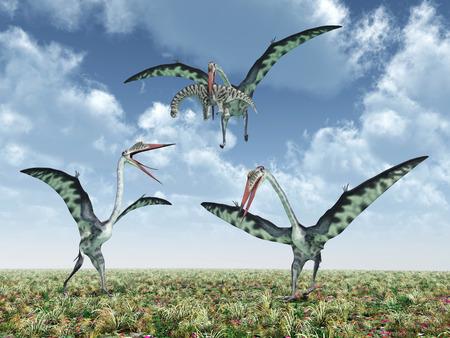 pterosaur: The pterosaur Quetzalcoatlus attacks the dinosaur Camarasaurus