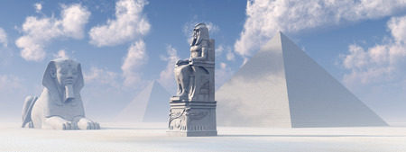 the sphinx: Egyptian sphinx, statue and pyramids Stock Photo