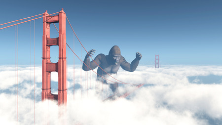 threaten: Golden Gate Bridge and Giant Gorilla