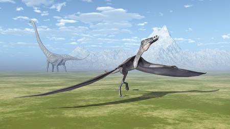 steppe: Pterosaur Dorygnathus and dinosaur Mamenchisaurus Stock Photo