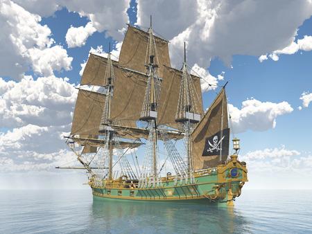 drapeau pirate: Bateau pirate du 18ème siècle