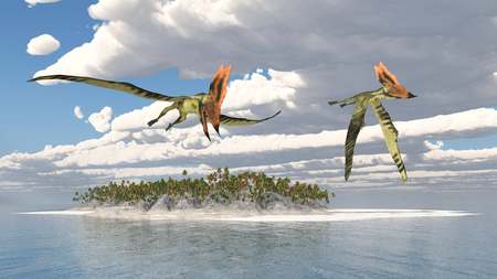 pterosaur: Pterosaur Thalassodromeus over an ocean landscape Stock Photo