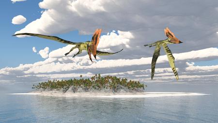 pterosaur: Pterosaur Thalassodromeus over an ocean landscape Stock Photo