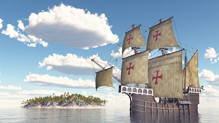 portuguese: Portuguese caravel of the fifteenth century Stock Photo