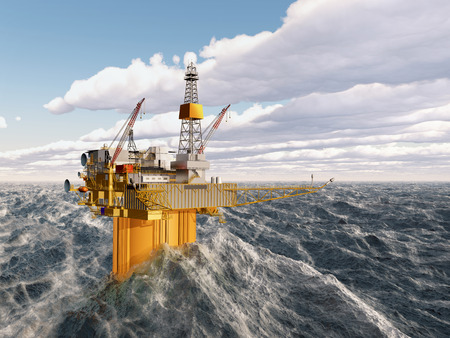 oil industry: Oil platform in the stormy ocean
