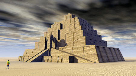 3d temple: Ziggurat Stock Photo