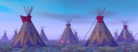 plains indian: Indian Camp at Dawn