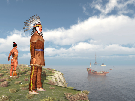 mayflower: Native Americans and the Mayflower Stock Photo