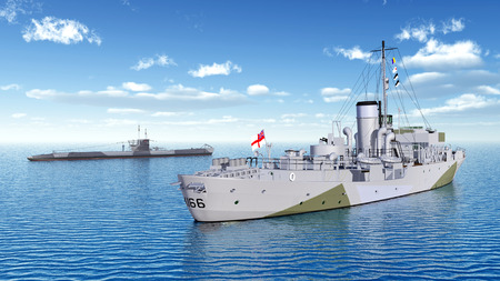 wwii: Canadian military ship and German submarine of World War II Stock Photo