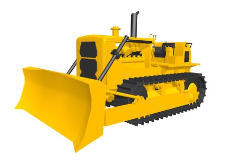 industrial vehicle: Bulldozer isolated on white background Stock Photo