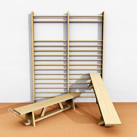 wall bars: Wall bars and benches