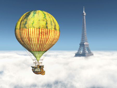 flying balloon: Fantasy Hot Air Balloon and Eiffel Tower