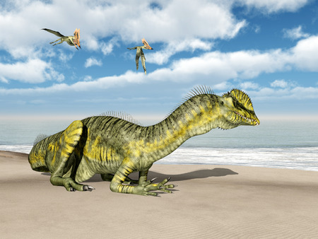 blue sky with clouds: The dinosaur Dilophosaurus and the pterosaur Thalassodromeus Stock Photo