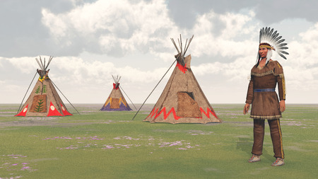 plains indian: Plains Indian and Indian Camp Stock Photo