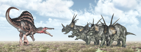 attacks: Spinosaurus attacks Styracosaurus