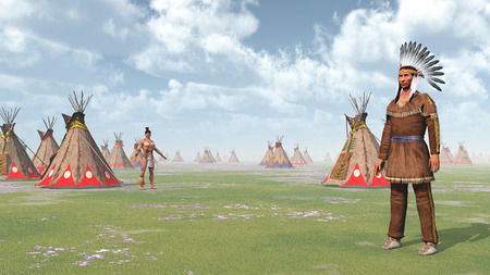 plains indian: Plains Indians and Indian Camp