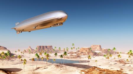 砂漠の風景に飛行船