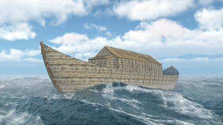 Noah's Ark in de stormachtige oceaan
