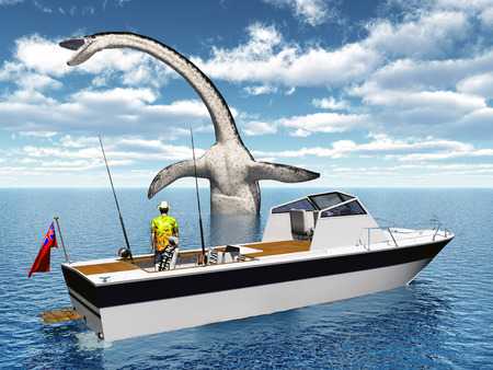 fishing boats: Sea angler and sea monster