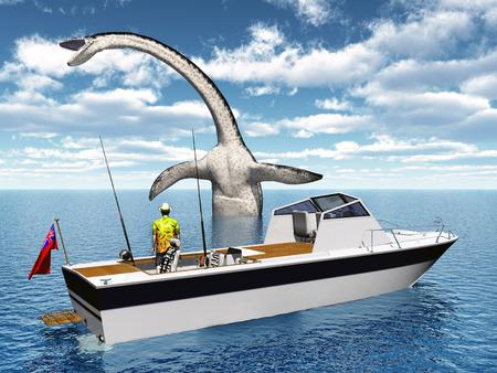 deep sea fishing: Sea angler and sea monster