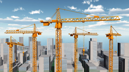construction crane: Construction cranes in a city landscape