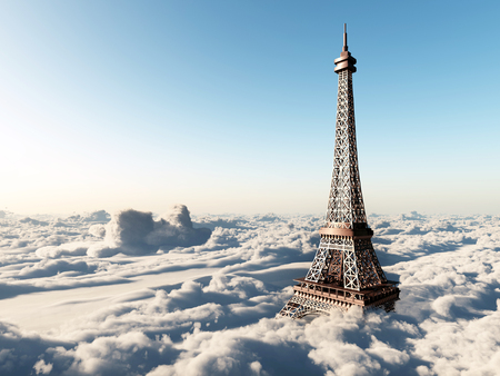 aerial view: Eiffel Tower above the clouds