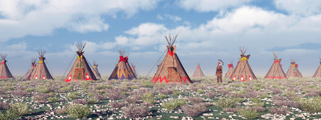 plains indian: Indian Camp Stock Photo