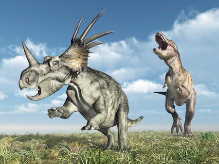 tyrannosaurus rex: Tyrannosaurus Rex attacks Styracosaurus Stock Photo