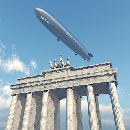 brandenburg: Zeppelin above the Brandenburg Gate