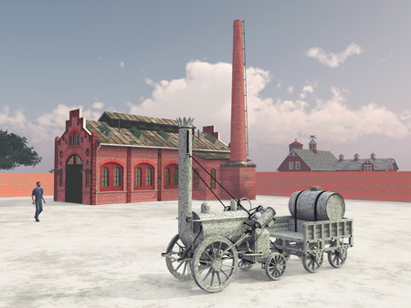 industrial vehicle: British steam locomotive from 1829 and train service station Stock Photo