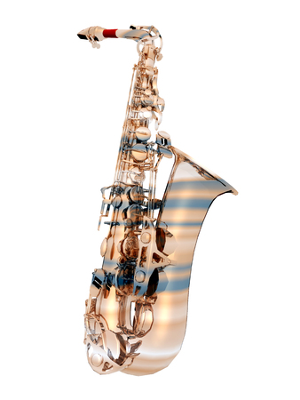 woodwind: Saxophone isolated on white background