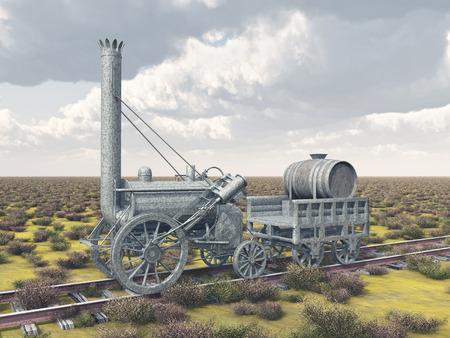 railway history: British steam locomotive from 1829 Stock Photo