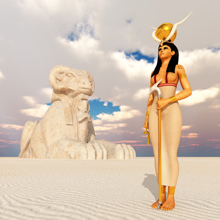 egyptian culture: Sphinx and the goddess Hathor Stock Photo