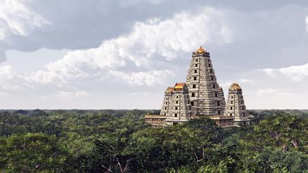 3d temple: Hindu temple Stock Photo