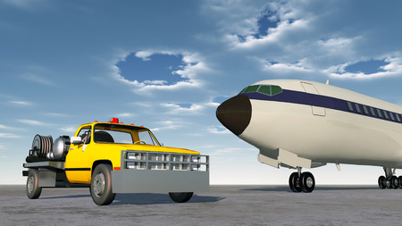 Airport fuel truck and airliner