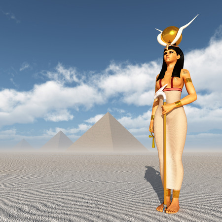 Pyramids and the goddess Hathor Stock Photo